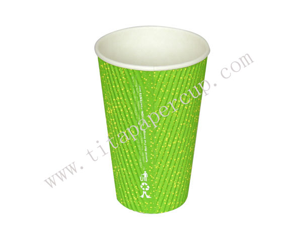 16oz green ripple paper cup